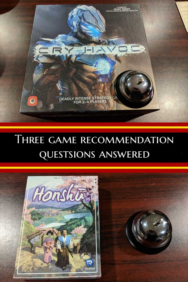 Three game recommendation questions answered. Area control games over lunch, games based on dominoes and the next step up from Splendor. #BoardGameRecommendations #BoardGameTips #TabletopBellhop #boardgames #tabletop