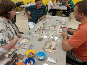 The board game Great Western Trail from Stronghold Games being played at the FLGS