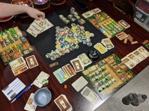 Look how much table space The Colonists, the epic strategy boardgame.