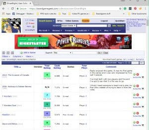 A screenshot of the worlds best boardgame website board game geek dot com.
