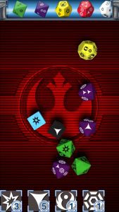 Screenshot of Star Wars Dice App showing dice for the Star Wars Roleplaying Game from Fantasy Flight