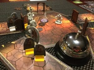 A shot of scenario 2 in Gloomhaven the fantasy adventure boardgame.
