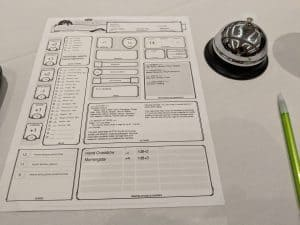 Dungeons & Dragons Fifth Edition Character Sheet.