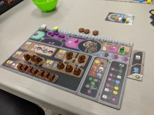 A look at the player board for Gaia Project the board game.
