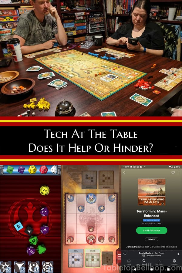 Tech at the board game table, bane or boon?. #BoardGameApps #TechAtTheTable #Cellphones #TabletopBellhop #boardgames #tabletop