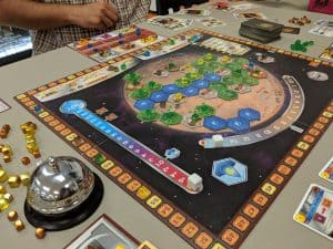 Terraforming Mars being played at the Friendly Local Game Store