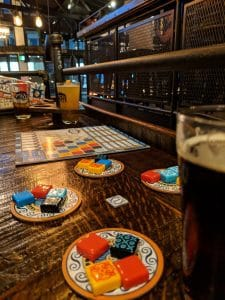 Play the tile laying board game Azul at he Grove Brewery in Kingsville Ontario