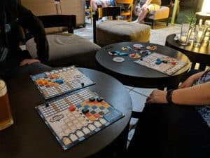 Azul split over two tables at the hotel restaurant at Origins.