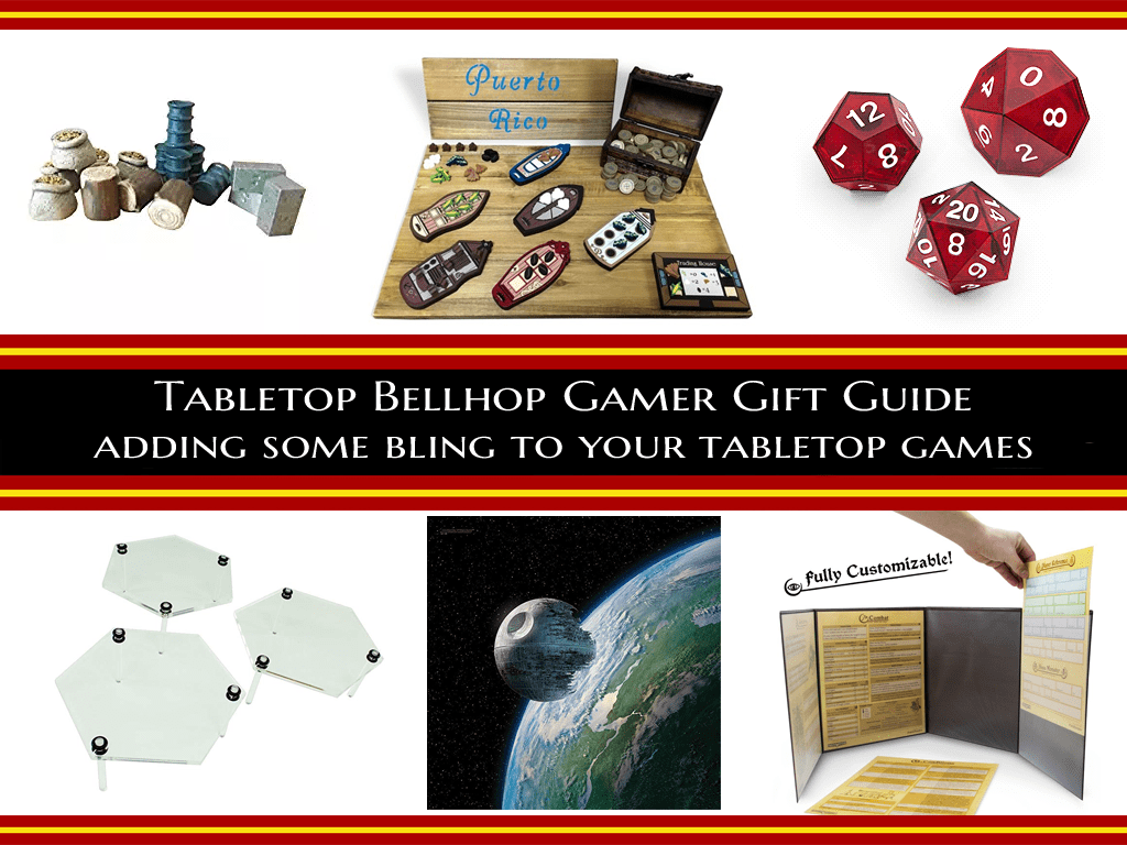 Buying gifts for gamers is hard. This gift guide includes ways to improve the games they already have. #GamerGiftGuide #GiftGuide #GamingGifts #TabletopBellhop #boardgames #tabletop