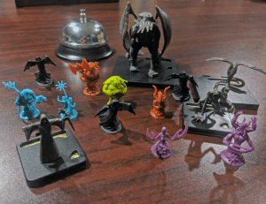 Ghastly game components for Horror themed Halloween game night.