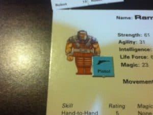 FASA Maters of the Universe character sheet and treasure token.