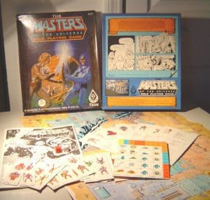 The FASA The Masters of The Universe Role Playing Game box cover, back and contents
