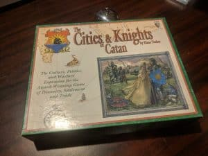 The original printing of Cities & Knights of Catan form Mayfare games.