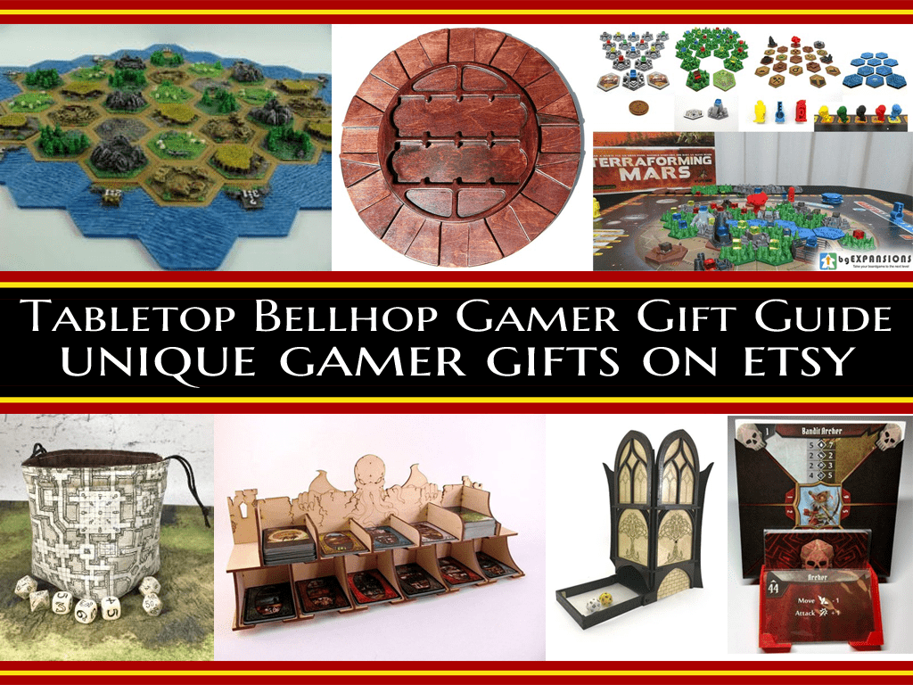 Awesome unqiue board game accessories on Etsy #Gamergiftguide #tabletopgiftguide #giftguide #GameBling #TabletopBellhop #boardgames #tabletop