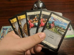 A sample hand of the card game Dominion from Rio Grande Games