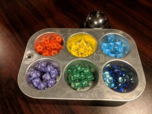 Muffin tin, surprisingly useful for sorting game components.