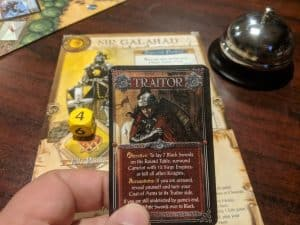 Traitor card from the cooperative board game Shadows Over Camelot