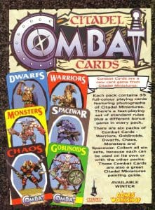An advertisement for Citadel Combat Cards from White Dwarf magazine.