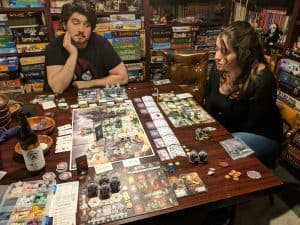 Three player Anachrony the time travel board game.