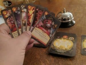 A hand of KeyForge cards. The hot new card game from Fantasy Flight