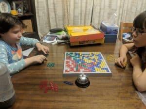 My girls playing Blokus