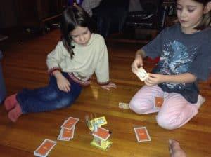 Playing Rhino Hero from Blue Orange Games