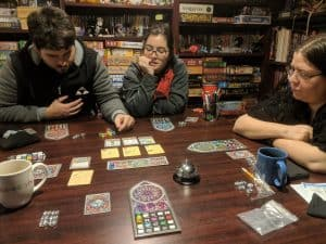 Four player Sagrada. The dice drafting board game from Floodgate Games