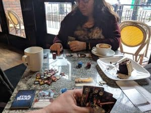 Star Wars Destiny being played at a local coffee shop.