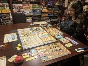 Two player game of Arkwright the heavy economic engine builder from Capstone games.