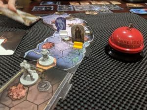 A random dungeon in the cooperative board game Gloomhaven