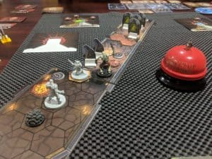 The board game Gloomhaven Random Dungeon played with two players.