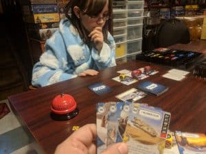 Playing Star Wars Destiny with my daughter.