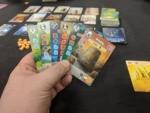 A hand of cards in Villages of Valeria from Daily Magic Games