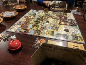 The board at the end of a game of Builders of Blankenburg the board game.