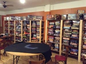 A section of the game library at Geektropolis Cafe, sadly closed.