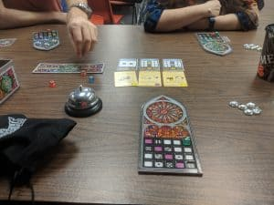 The very start of a game of Sagrada