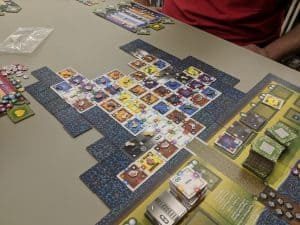 Near the end of a game of Palace of Mad King Ludwig