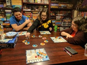 Players having fun playing Azul