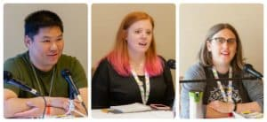 Panelists discussing board game playtesting and development,