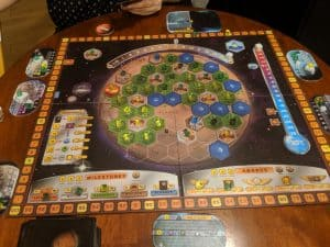 The end of a two player game of Terraforming Mars with the Colonies and Prelude expansion.