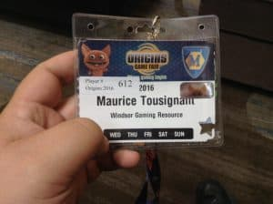 My badge from Origins 2016