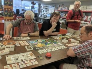 Playing Gentes four player at The CG Realm.