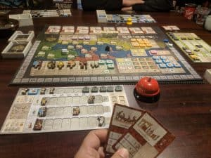 A picture of the Deluxe or Deluxified edition of the board game Gentes.
