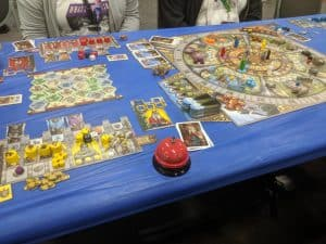 The board game Merlin from Queen Games featuring the Arthur Expansion.