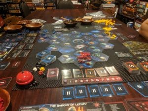 Opening moves in a game of Twilight Imperium Fourth Edition.