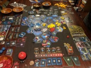 A shot of the board game Twilight Imperium Fourth Edition.