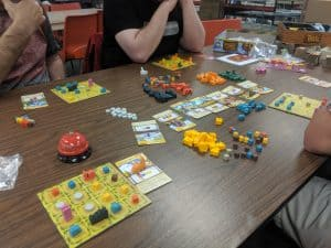 A shot of the board game Tiny Towns from AEG