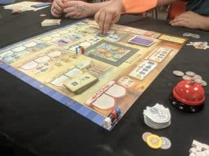 the board game Bastille from Queen Games all set up and ready to play.