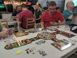 A four player game of Dead Man's Cabal from Pandasaurus games.