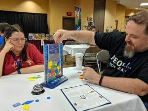 Sean and Deanna from The Tabletop Bellhop Gaming Podcast playing Drop It!